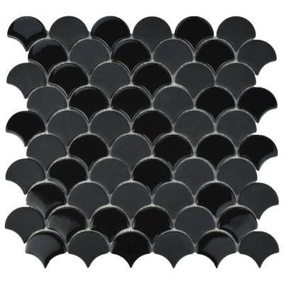 Expressions Scallop Black 11-1/4 in. x 12 in. x 7 mm Glass Mosaic Tile (0.94 sq. ft./Each)