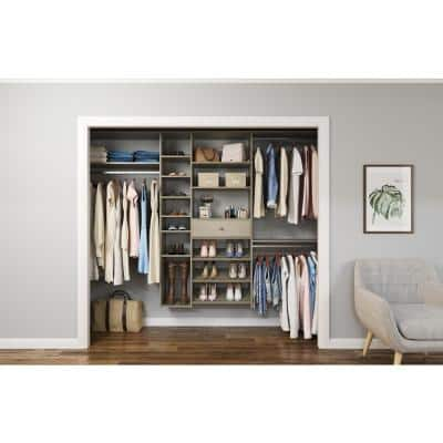 84 in. W - 108 in. W Rustic Grey Wood Closet System