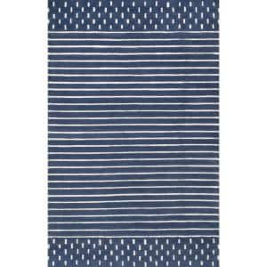 Marlowe Stripes Navy 8 ft. 6 in. x 11 ft. 6 in. Area Rug