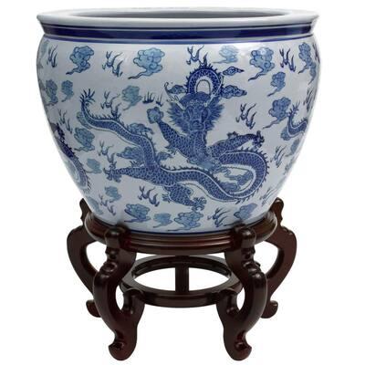 Oriental Furniture 14 in. Dragon Blue & White Porcelain Fishbowl