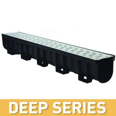 Deep Series 5.4 in. W x 5.4 in. D x 39.4 in. L Trench and Channel Drain Kit w/ Stainless Steel Grate