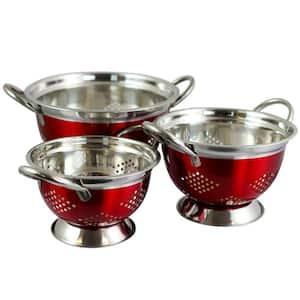 Metaline Metallic Red Asian Colander (Set of 3)