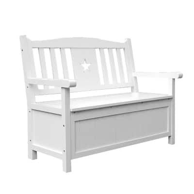 47.2 in. White Outdoor Garden Patio Rustic Entryway Storage Bench