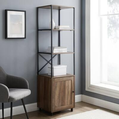 64 in. Reclaimed Barnwood Wood and Metal 3-Shelf Bookcase with 1-Door