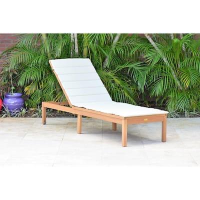 Manarola Teak Outdoor Chaise Lounge with Grey Cushion