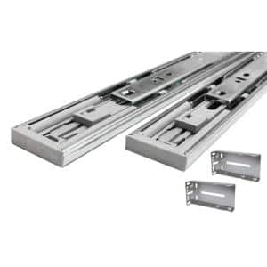 24 in. Full Extension Ball Bearing Side Mount Soft Close Drawer Slide with Rear Bracket Set 8-Pairs (16 Pieces)