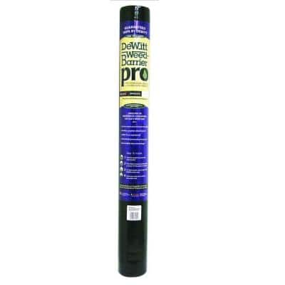 4 ft. W x 300 ft. L Polypropylene Black Weed Barrier Pro