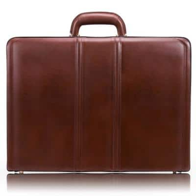 McKlein Coughlin Top Grain Cowhide Brown Leather 4.5 in. Expandable Attache Briefcase