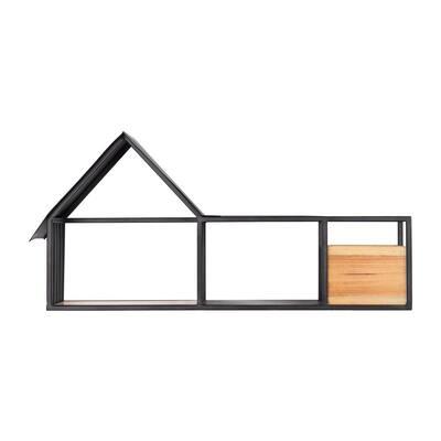 14 in. H x 28 in. W x 8 in. D Wood and Black Metal Wall-Mount Floating Shelf