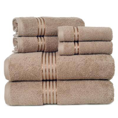 6-Piece Taupe Solid 100% Cotton Bath Towel Set with Satin Stripes