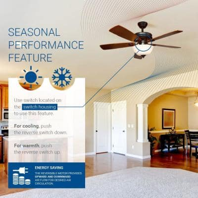 Dome 42 in. Indoor Wood Brown Semi-Flush Ceiling Fan with Light Kit and Remote Control