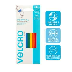 8 in. x 1/2 in. Multi-Color One-Wrap Straps (5-Pack)