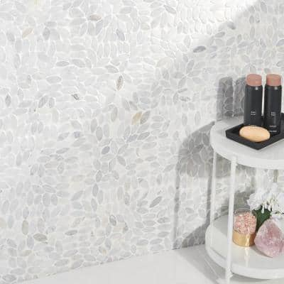 Countryside Flower Carrara 11.81 in. x 11.81 in. Natural Marble Floor and Wall Mosaic Tile (0.96 sq. ft./Each)