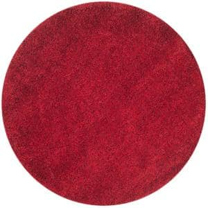 California Shag Red 4 ft. x 4 ft. Round Area Rug