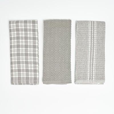 Grey Plaid 100% Cotton Kitchen Towels (3 Piece Set)