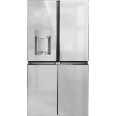 27.4 cu. ft. Smart 4-Door Quad French Door Refrigerator in Platinum Glass, ENERGY STAR