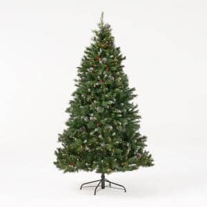 7 ft. Green Pre-Lit LED Mixed Spruce Artificial Christmas Tree with 450 White Lights and Red Berries, Frosted Pine Cones