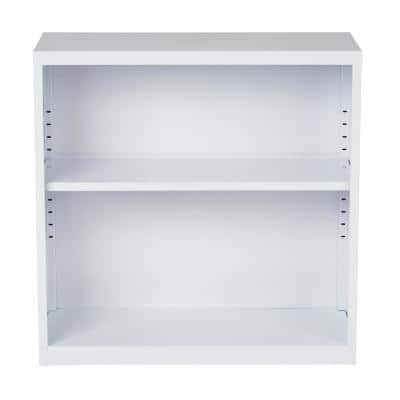 28 in. White Metal 2-shelf Standard Bookcase with Adjustable Shelves