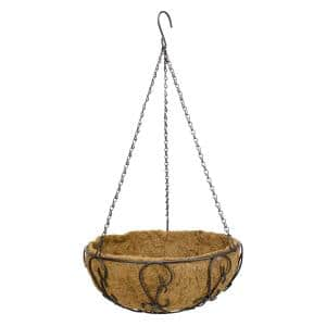 14 in. Painted Steel Filigree Hanging Basket with Coco Liner