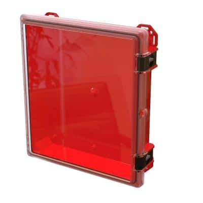 17.8 in. L x 16.3 in. W x 4 in. H Polycarbonate Clear Hinged Latch Top Cabinet Enclosure with Red Bottom