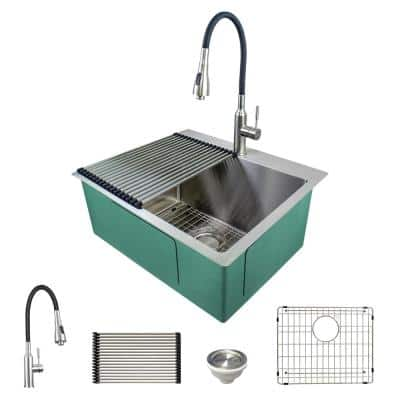 25 in. x 22 in. x 12 in. Stainless Steel Drop-In or Undermount Laundry/Utility Sink Kit with Faucet and Accessories