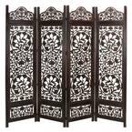 6 ft. Dark Brown Wood 4-Panel Room Divider