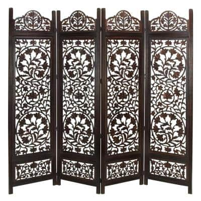 72 in. Brown Mango Wood Traditional Room Divider Screen