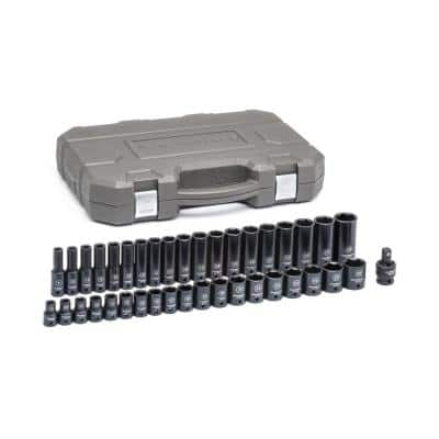 1/2 in. Drive 6-Point Standard and Deep Metric Impact Socket Set (39-Piece)