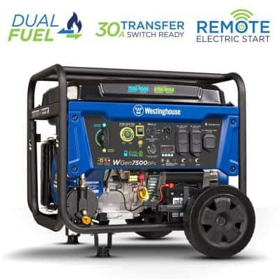 WGen7500DFc 9,500/7,500-Watt Dual Fuel Portable Generator with Remote Start, Transfer Switch Outlet and CO Sensor