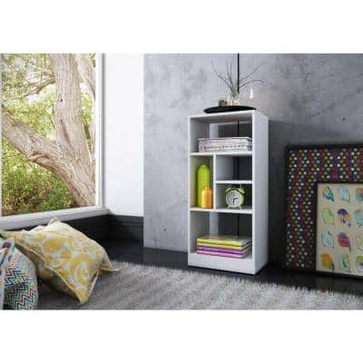 35.43 in. White Faux Wood 5-shelf Accent Bookcase with Open Back