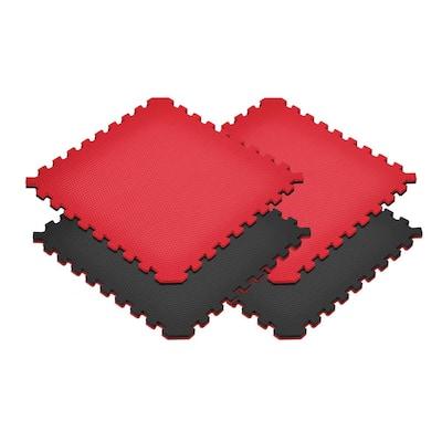 Black/Red 24 in. x 24 in. x 0.79 in. Foam Reversible Interlocking Floor Mat (4-Pack)