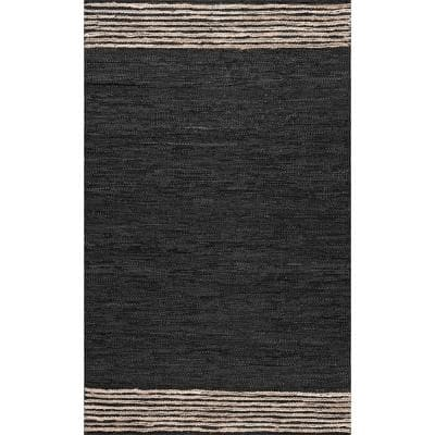 Kelli Contemporary Leather and Jute Gray 5 ft. x 8 ft.  Area Rug