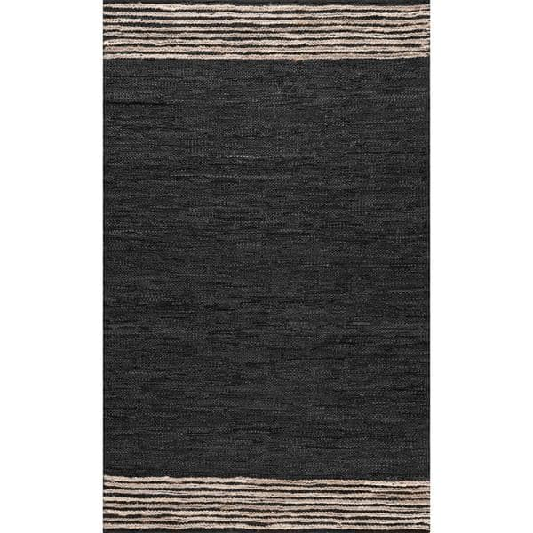 Nuloom Kelli Contemporary Leather And Jute Gray 5 Ft X 8 Ft Area Rug Cjab01a 508 The Home Depot