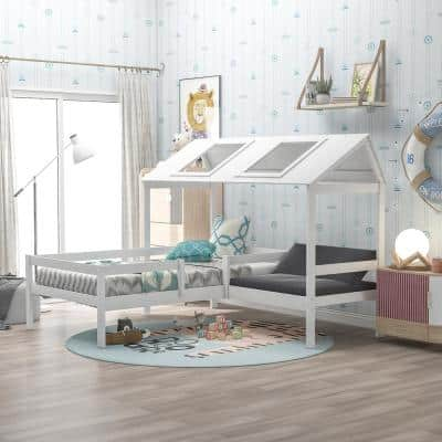 White Twin Size House-Shaped Bed with Relax Seat and Free Cushions