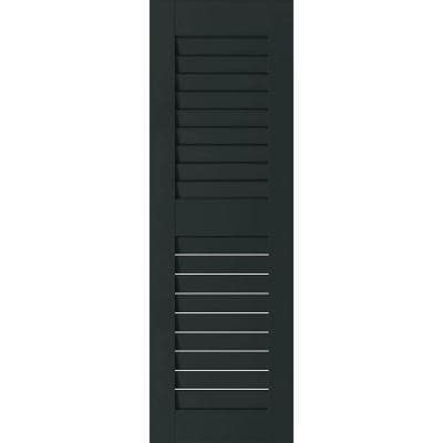 15 in. x 49 in. Exterior Real Wood Pine Louvered Shutters Pair Dark Green