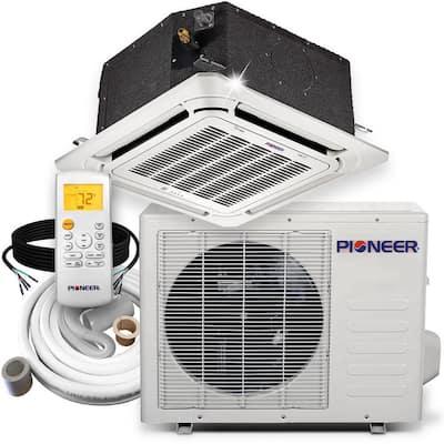 36,000 BTU 3 Ton Ductless Mini Split 17.5 SEER 8-Way Cassette Air Conditioner with Heat Pump 230-Volt