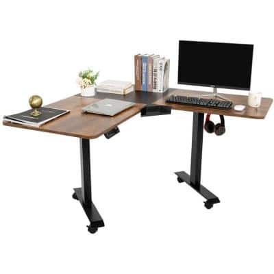 53 in. Black and Brown L-Shaped Electric Corner Standing Desk with Adjustable Height