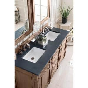 Bristol 60 in. Double Bath Vanity in Whitewashed Walnut with Quartz Vanity Top in Charcoal Soapstone with White Basin