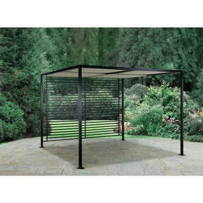 Sicilia 9 ft. x 9 ft. Pergola with Roof and Slatted Back Panel