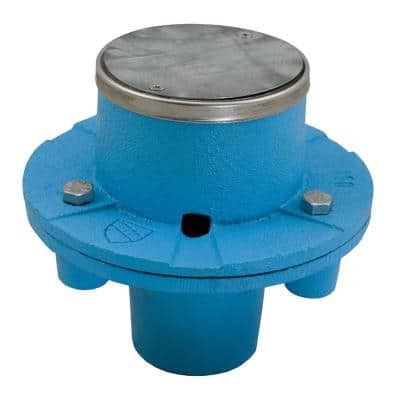 2 in. No Hub CO.D.e Blue EZ Test Shower Drain with 6 in. Base and 4-1/4 in. Stainless Steel Round Strainer