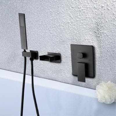 Single-Handle Wall Mount Roman Tub Faucet with Hand Shower in Matte Black Ceramic Disc (Valve Included)