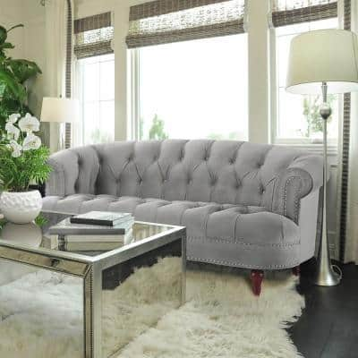 La Rosa 40 in. Opal Grey Velvet 2-Seater Chesterfield Loveseat with Nailheads