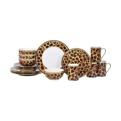 Serengeti Leopard 16-Piece Electropated Gold Porcelain Dinnerware Set
