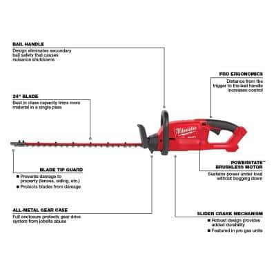 M18 FUEL 24 in. 18-Volt Lithium-Ion Brushless Cordless Hedge Trimmer (Tool-Only)