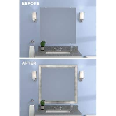 Decorative 36 in. x 36 in. Single Mirror Framing Kit for Bathrooms in Silver with Flat Frame