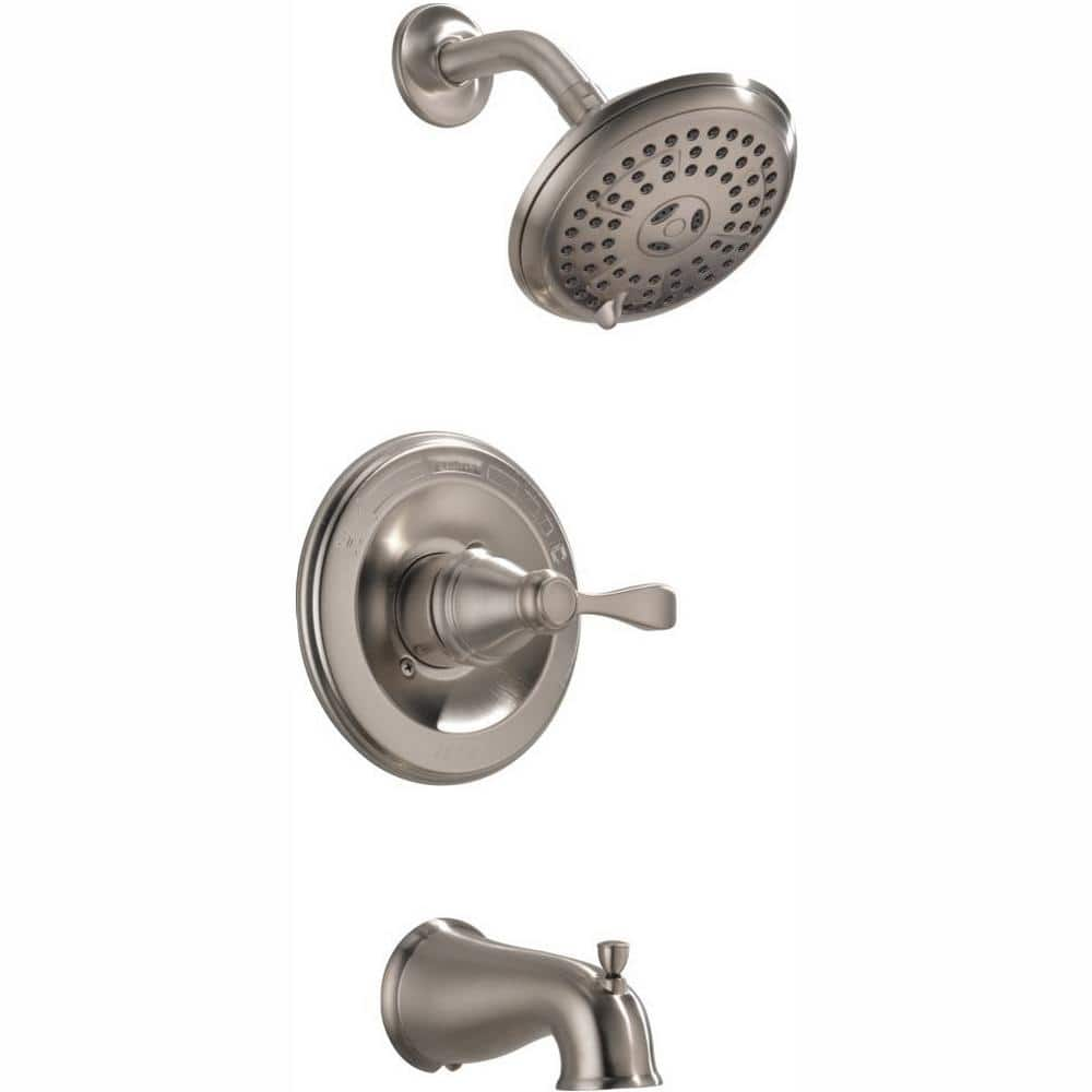 Delta Porter Single Handle 3 Spray Tub And Shower Faucet In Brushed Nickel Valve Included 144984c Bn A The Home Depot