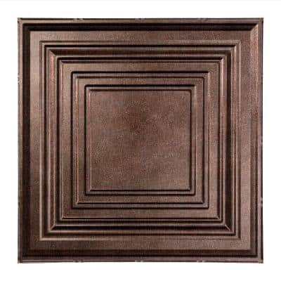 Traditional #3 2 ft. x 2 ft. Smoked Pewter Lay-In Vinyl Ceiling Tile ( 20 sq.ft. )