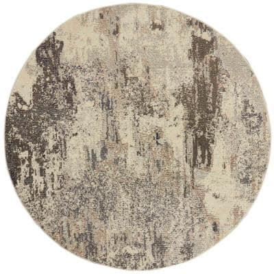 Celestial Ivory/Grey 5 ft. x 5 ft. Abstract Modern Round Area Rug