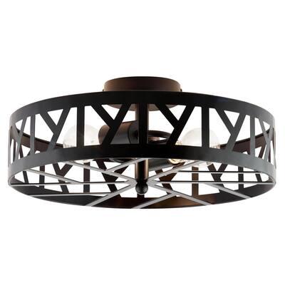 Zander 16 in. Modern Farmhouse 2-Light Oil Rubbed Bronze Semi-Flush Mount Hanging Lamp