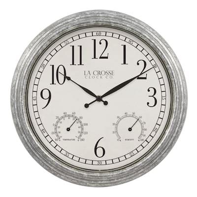 14 In. Silas Indoor/Outdoor Galvanized Analog Quartz Wall Clock